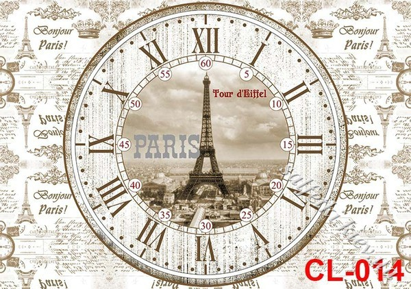 Декупаж часов париж