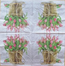 tulips in bucket